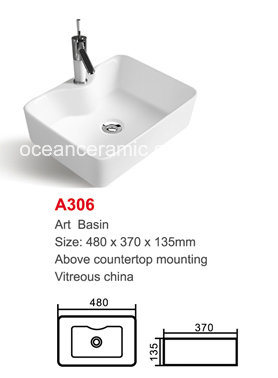 Rectangular Ceramic Basin (No. A306) Cabinet Sink
