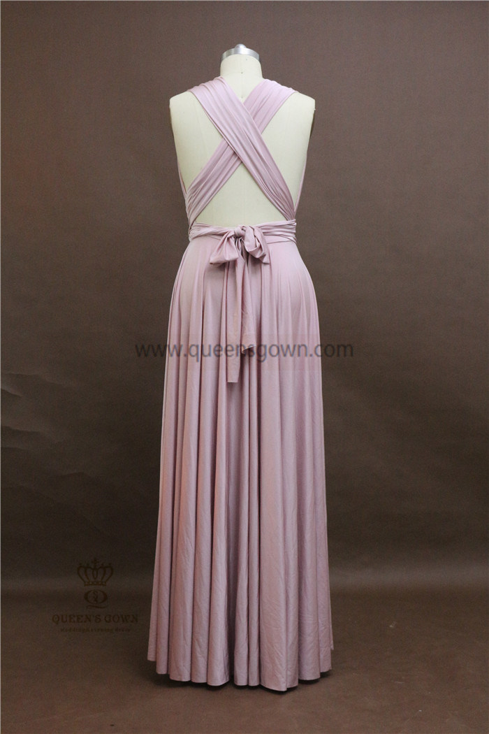 Cheap Elastic Satin Girl Evening Gowns Convertible Pink Bridesmaid Dresses