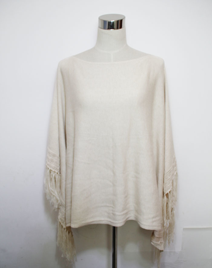 Lady Fashion Cotton Viscose Silk Knitted Fringe Poncho (YKY4487)