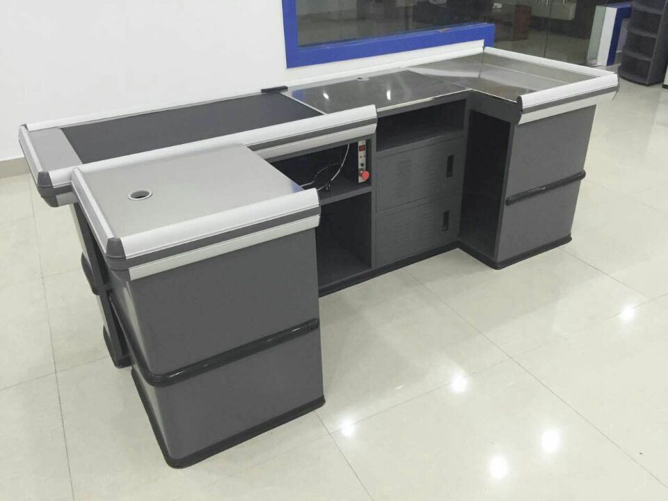 Checkout Counters Used in Supermarket, Retail Check out Counters with Motor Transfer Belt