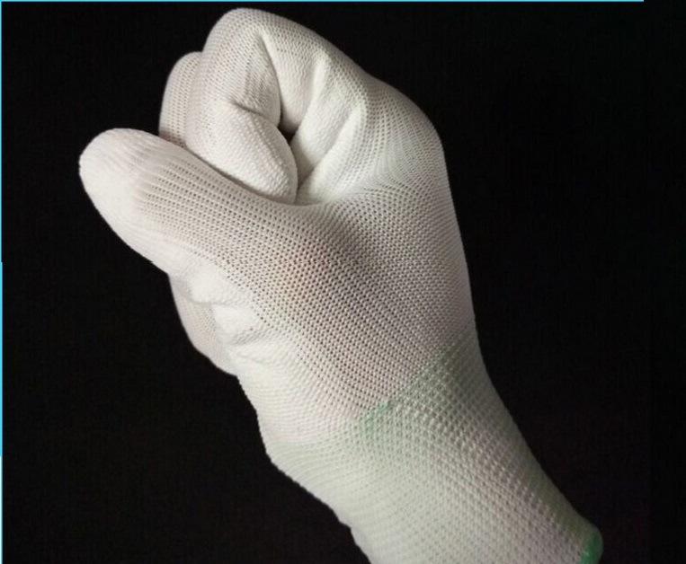 Knitted PU Finger Coated 13 Gauge Carbon Fiber ESD Gloves