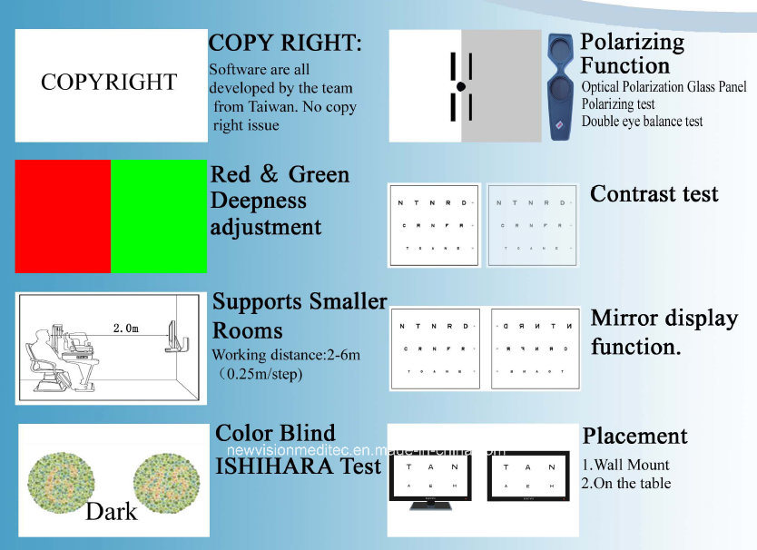 Polarized Visual Acuity Chart for Vision Tester