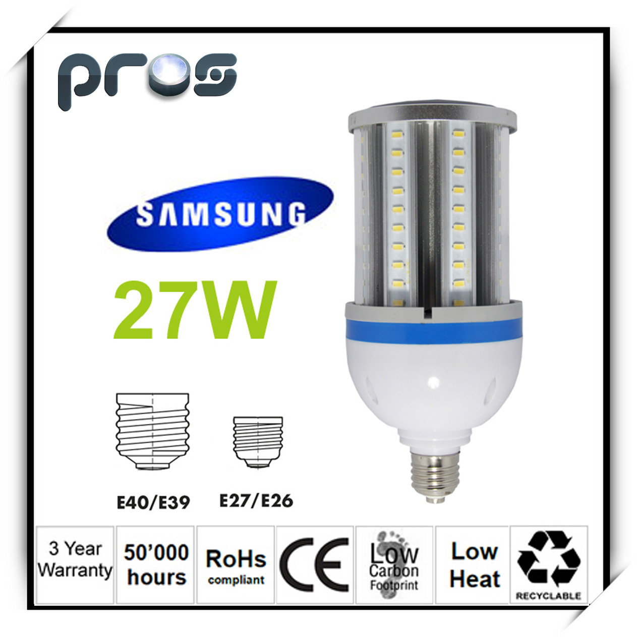 27W LED Corn Bulb Light with Samsung Epistar LED Chips