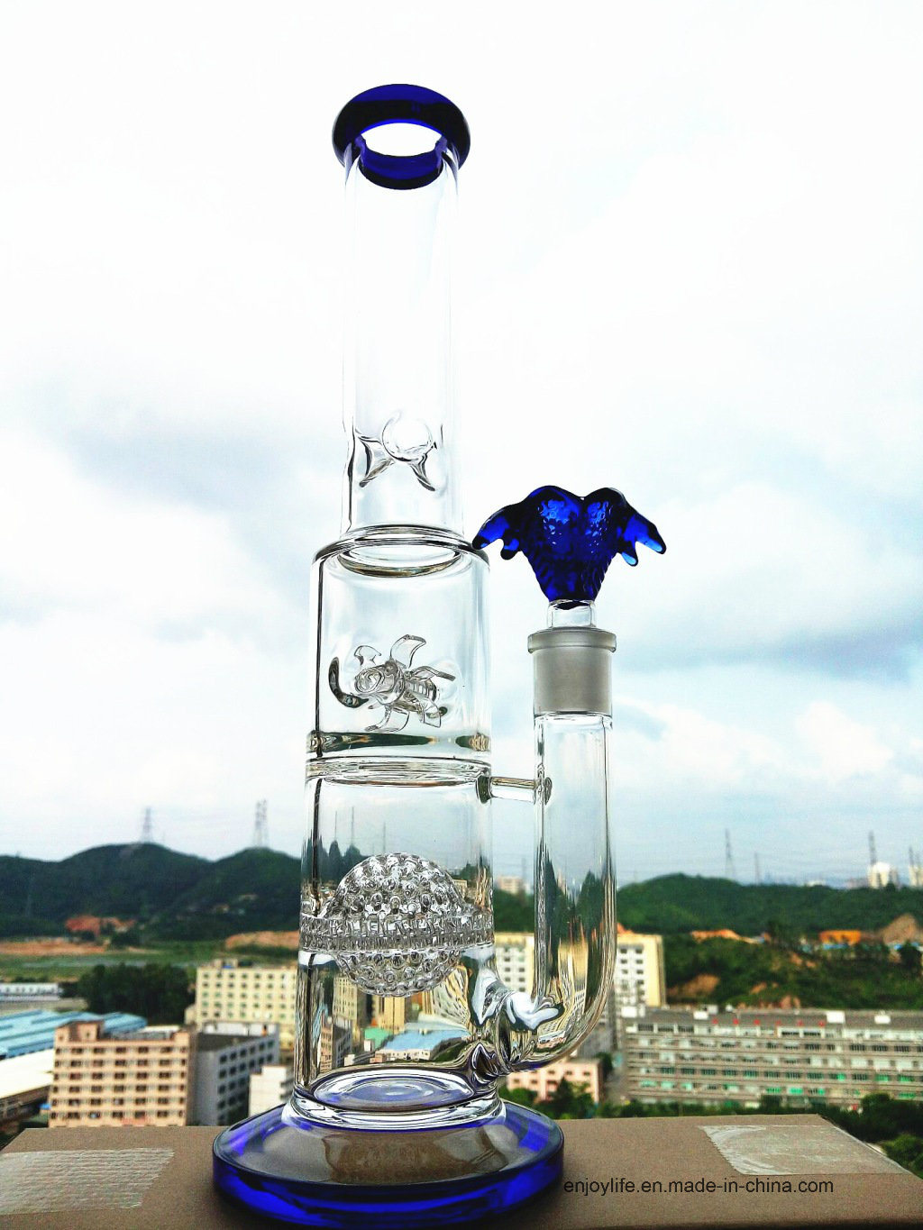 Hb-K48 Honeycomb with Two Half Ball Perc Windmill Wheel Shape Glass Smoking Water Pipe