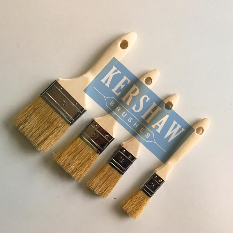 Paint Brush (paintbrush, pure white bristle flat brush with soft wood handle)