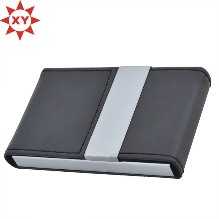 PU Leather Name Card Holder Credit Card Holder Opened