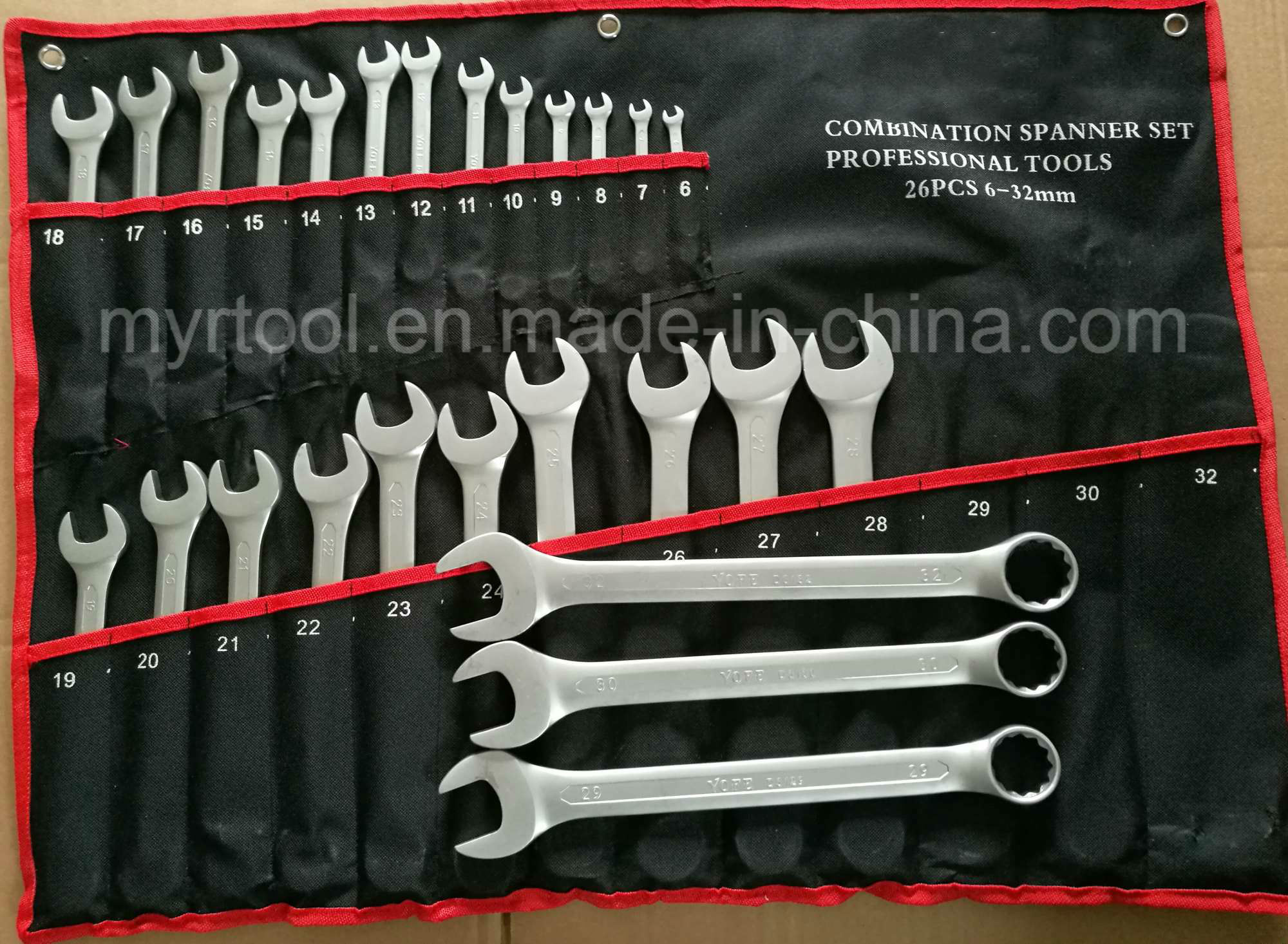 26PCS Good Quality Combiantion Wrench Set in Rolling Bag (FY10262)