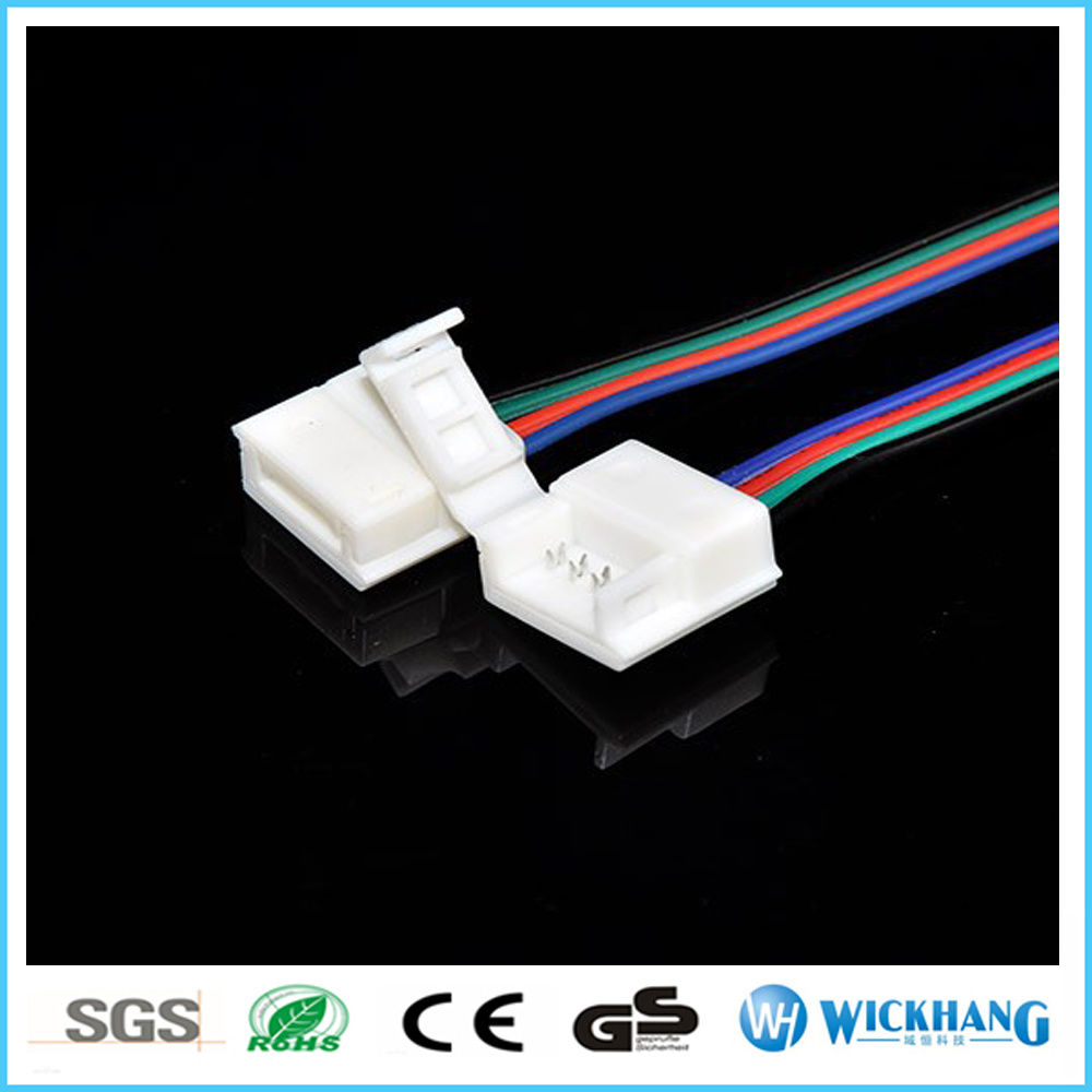 10mm 4 Pin Two Connector with Cable for SMD LED 5050 RGB Waterproof LED Strip Light