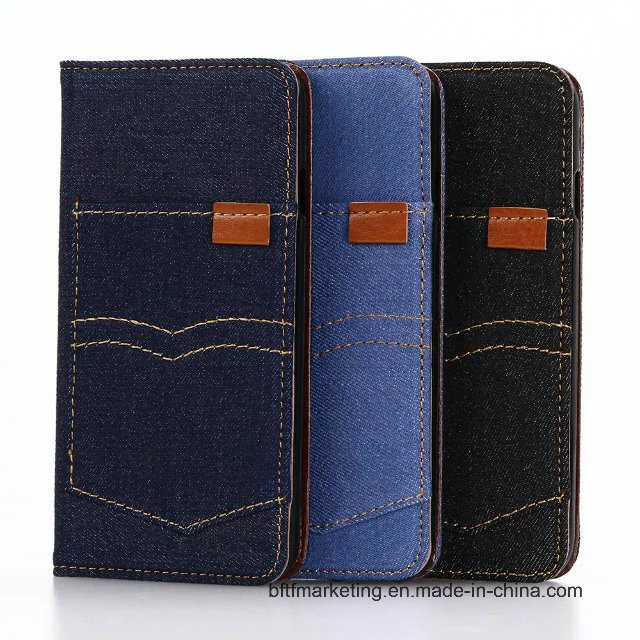 Jeans Canvas Classic Wallet Cell Phone Case for iPhone 8/8plus