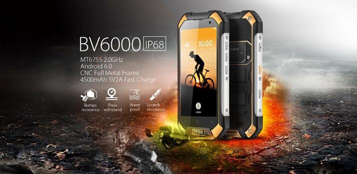 "Blackview BV6000 Smartphone 4G Lte Waterproof IP68 4.7"" HD Mt6755 Octa Core Android 6.0 Smart Phone 3GB RAM 32GB ROM 13MP Rear Camera Orange Color"