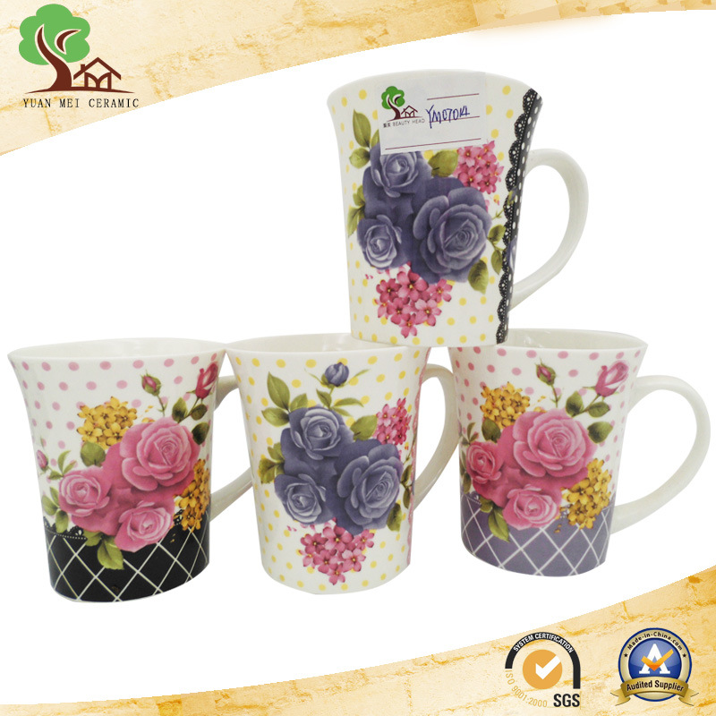 Yuanmei Sourcing Ceramic New Bone China Round Decal Flower Coffee Mug
