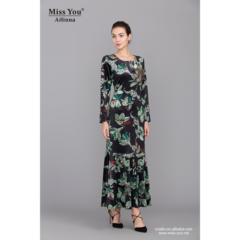 Miss You Ailinna 801973 Elagant Ladies Islamic Floral Long Dress Wholesaler