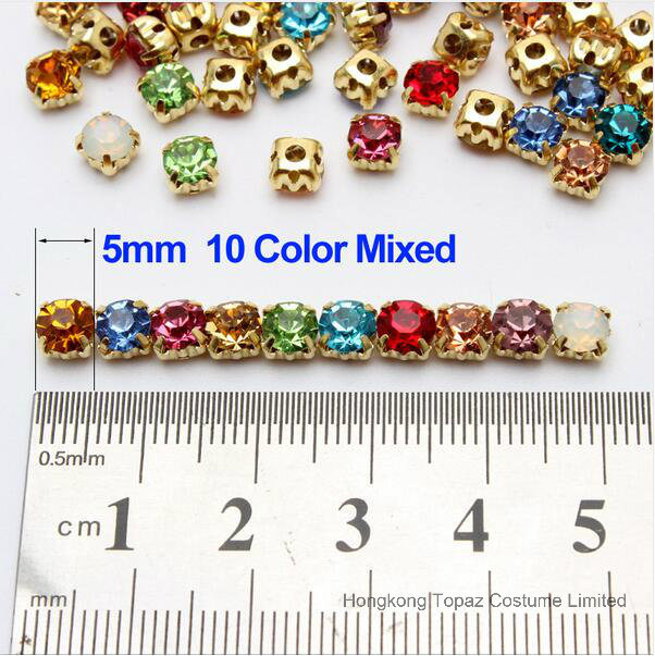 5mm Round Sew on Crystal Rhinestones in Gold Settings (SW-round 5/6/7/9/10mm)