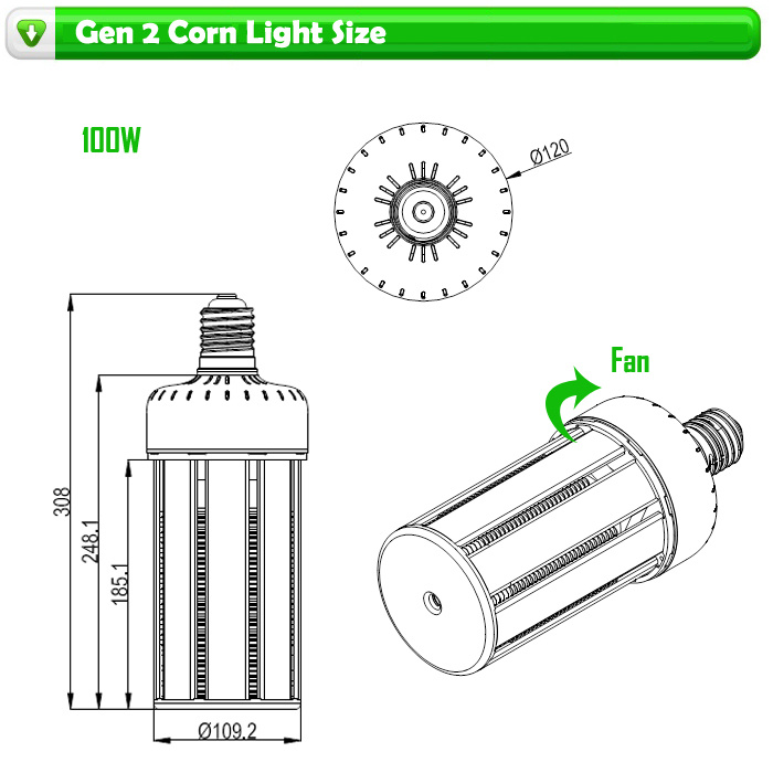 80W, 100W, 120W LED Corn Bulb with Inner Fan High Bay Bulb