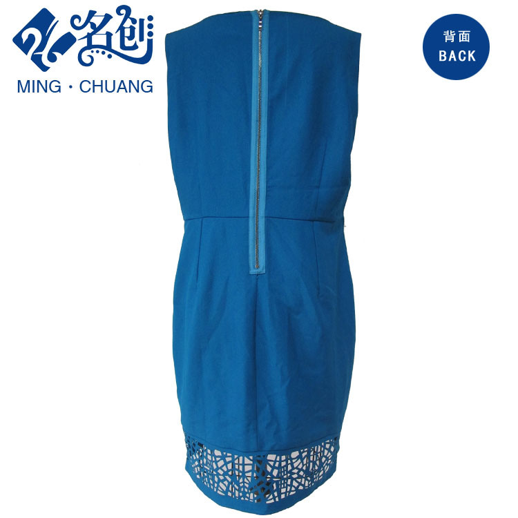 Blue Round-Collar Sleeveless Rear-Zipper Hollowing-Lower Slim Long Ladies Party Dress