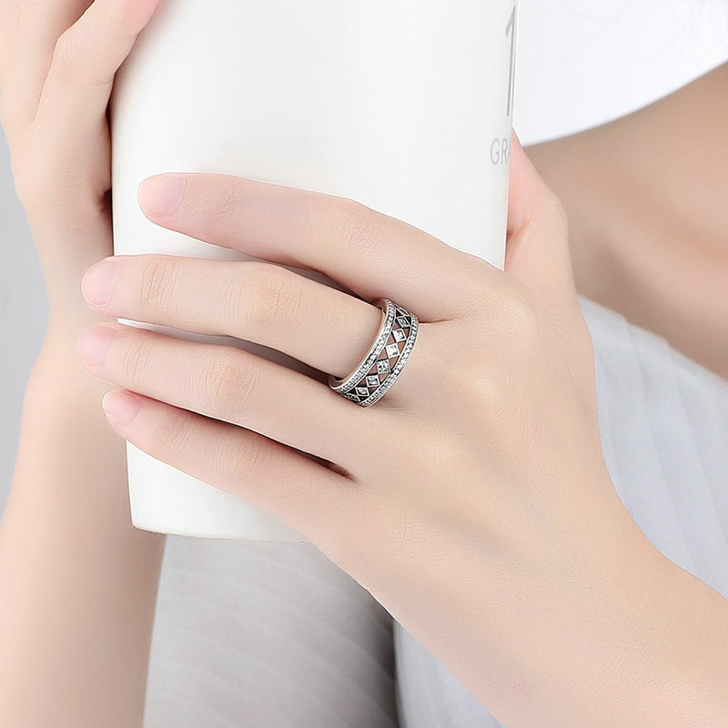 Luxury Fashion Jewelry 925 Sterling Silver Square Clear CZ Big Ring for Women