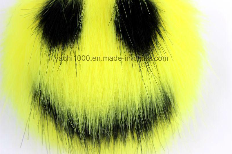 Plush Faux Fur Ball Keychains with Big Eyes