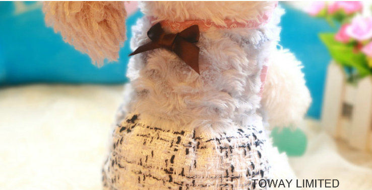Woollen Royal Pet Clothes Grid Winter Bowtie Dog Dress