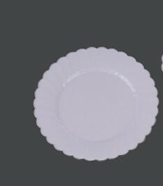 "10"" Hard Plastic Flower Wedding Party Round White Plate"