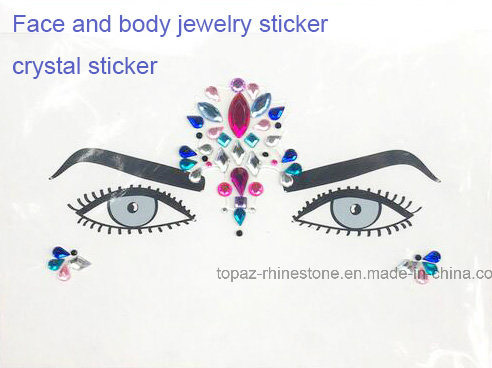 Tattoo Sticker Performing Arts Eye Face Rhinestone Stickers Eye Makeup Acrylic Diamonds Sticker (S054)