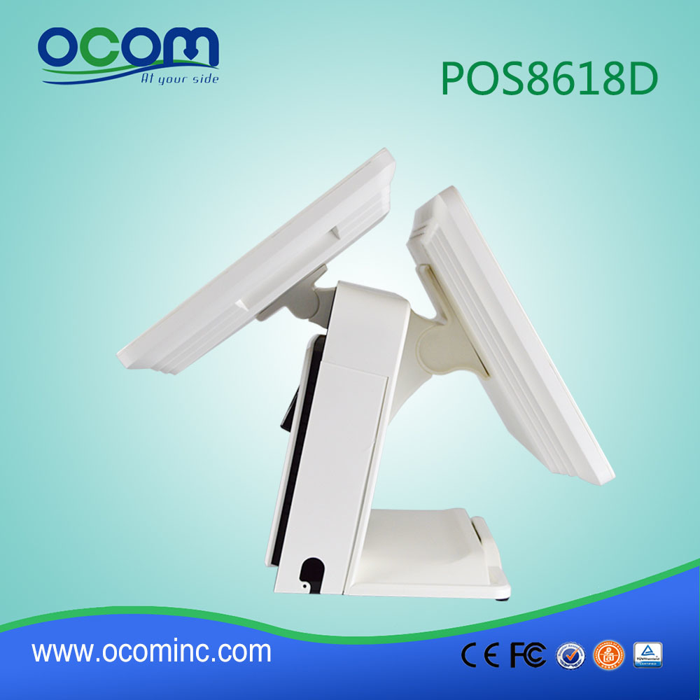 """Hot 15"""" Touch All in One PC Cash Register POS Terminal with Dual Screen"""