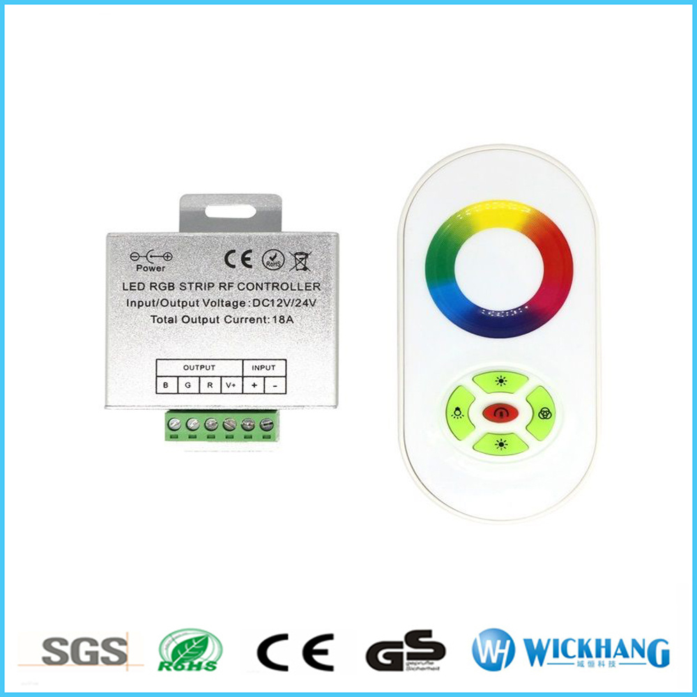 12-24V DC 5 Keys Dimmer RF Touch Aluminum Shell RGB Controll for LED Strips 18A