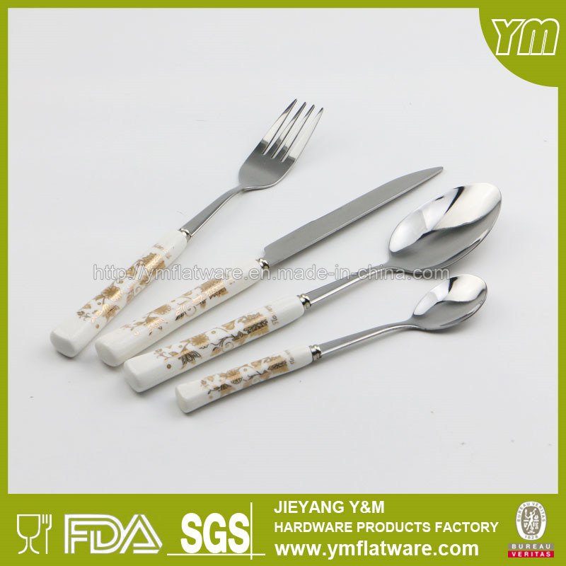 Wholesale 6PCS Stainless Steel Ceramic Handle Spoon and Fork Knife Set