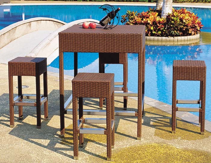 Garden Bar Furniture Outdoor Rattan Bar Stools and Table