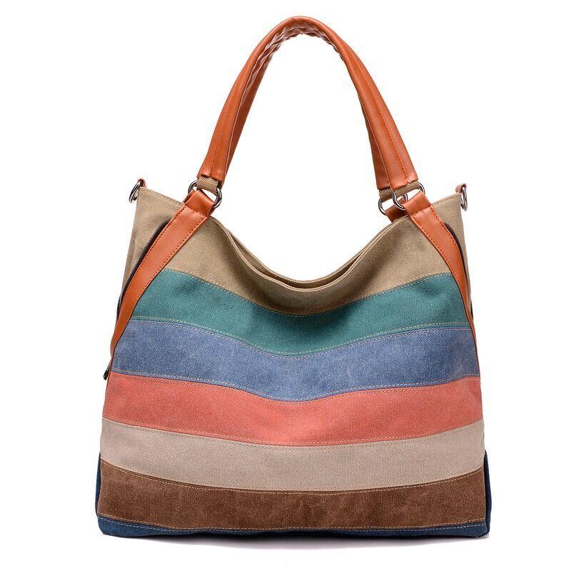 Factory Wholesale Fashion Rainbow Color Canvas Hand Bag