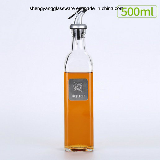 Fashion Liquid Condiment Glass Oil Bottle with Lid Factory Direct Sale