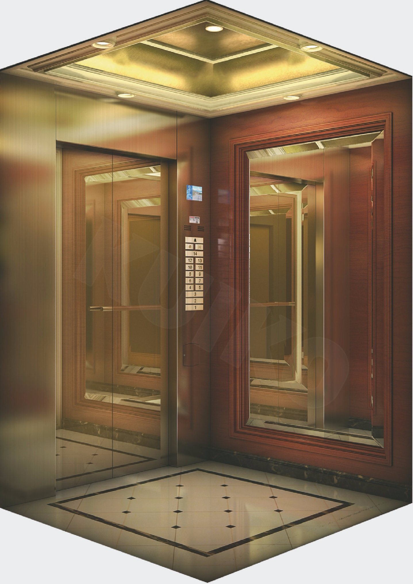 Hotel Elevator Ti-Golden Mirror Sts Lift Machine
