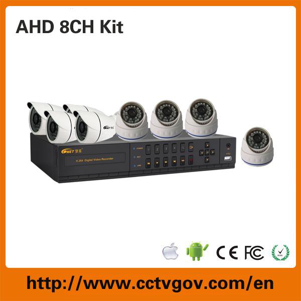 Hot DVR Kit! ! 8CH HD Ahd DVR Home Surveillance Camera Kit with 8PCS Megapixel 960p/720p Ahd Camera