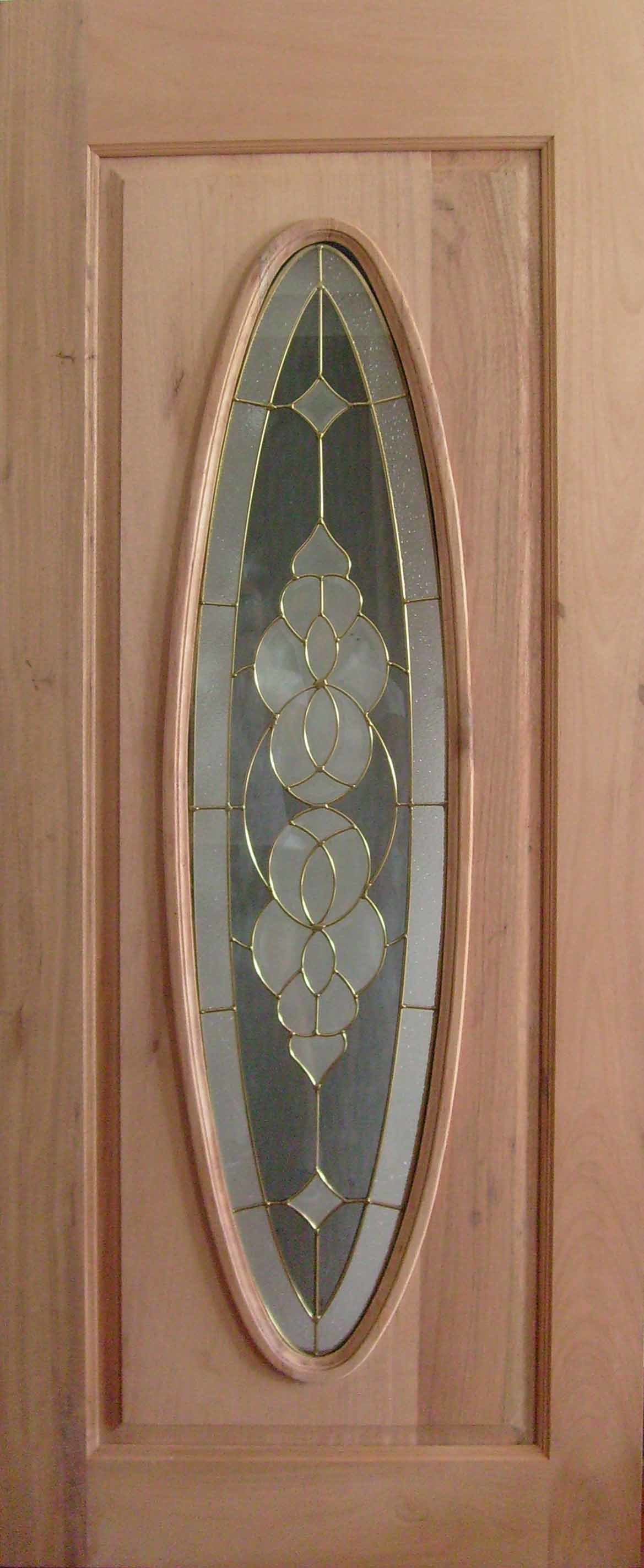 Pure Teak Solid Wood Entry Door with Big Oval Glass