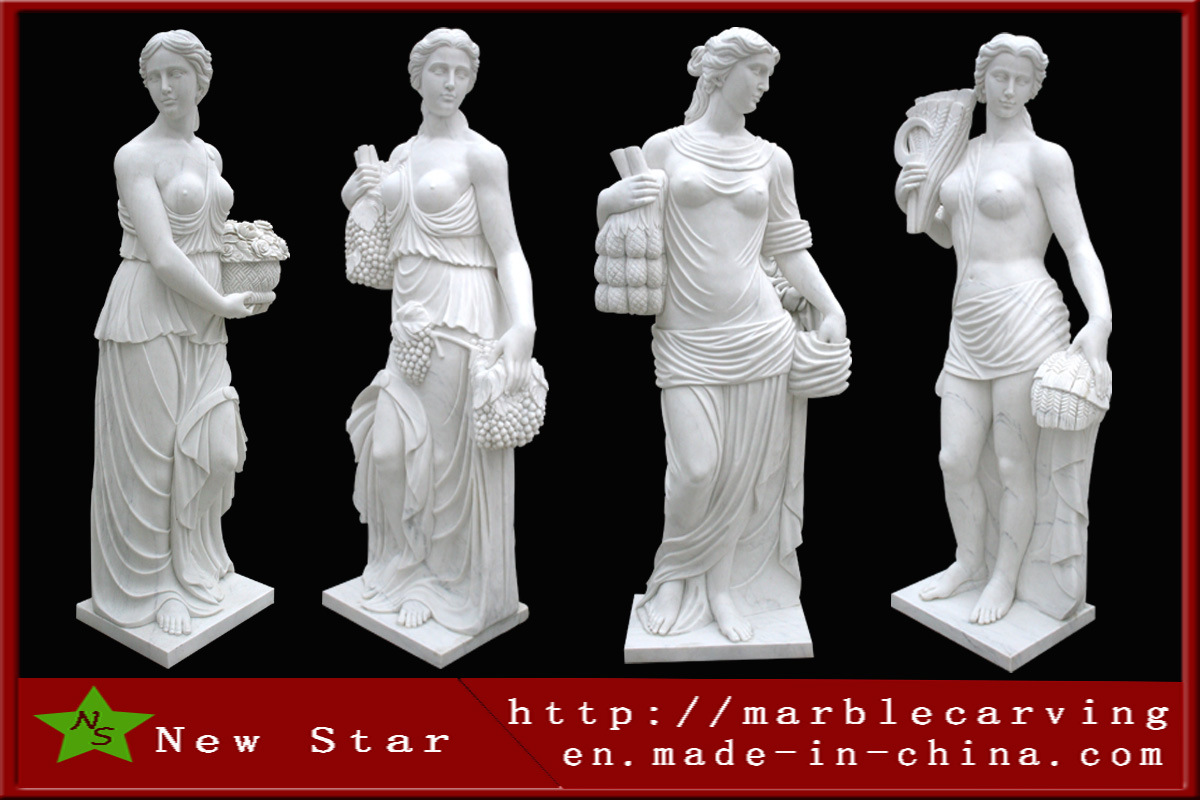 Stone Carving White Marble Female Four Season Sculpture Statues