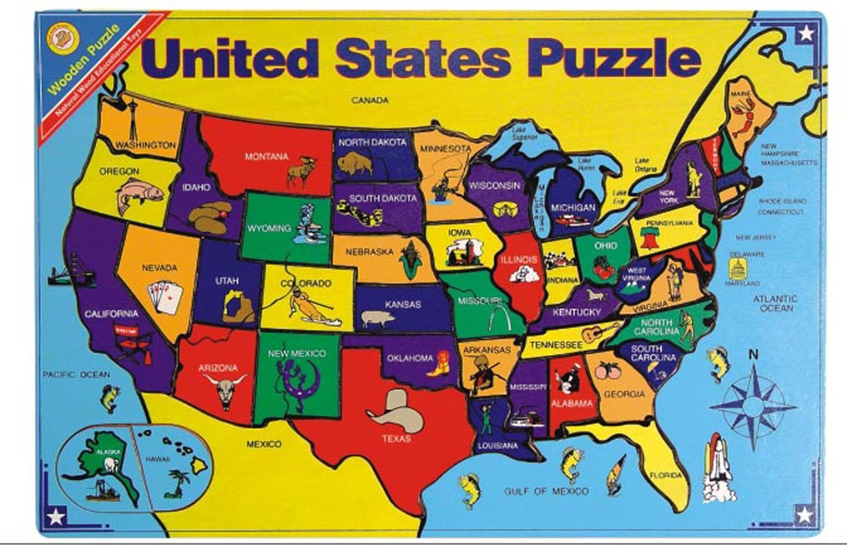 Puzzle us map