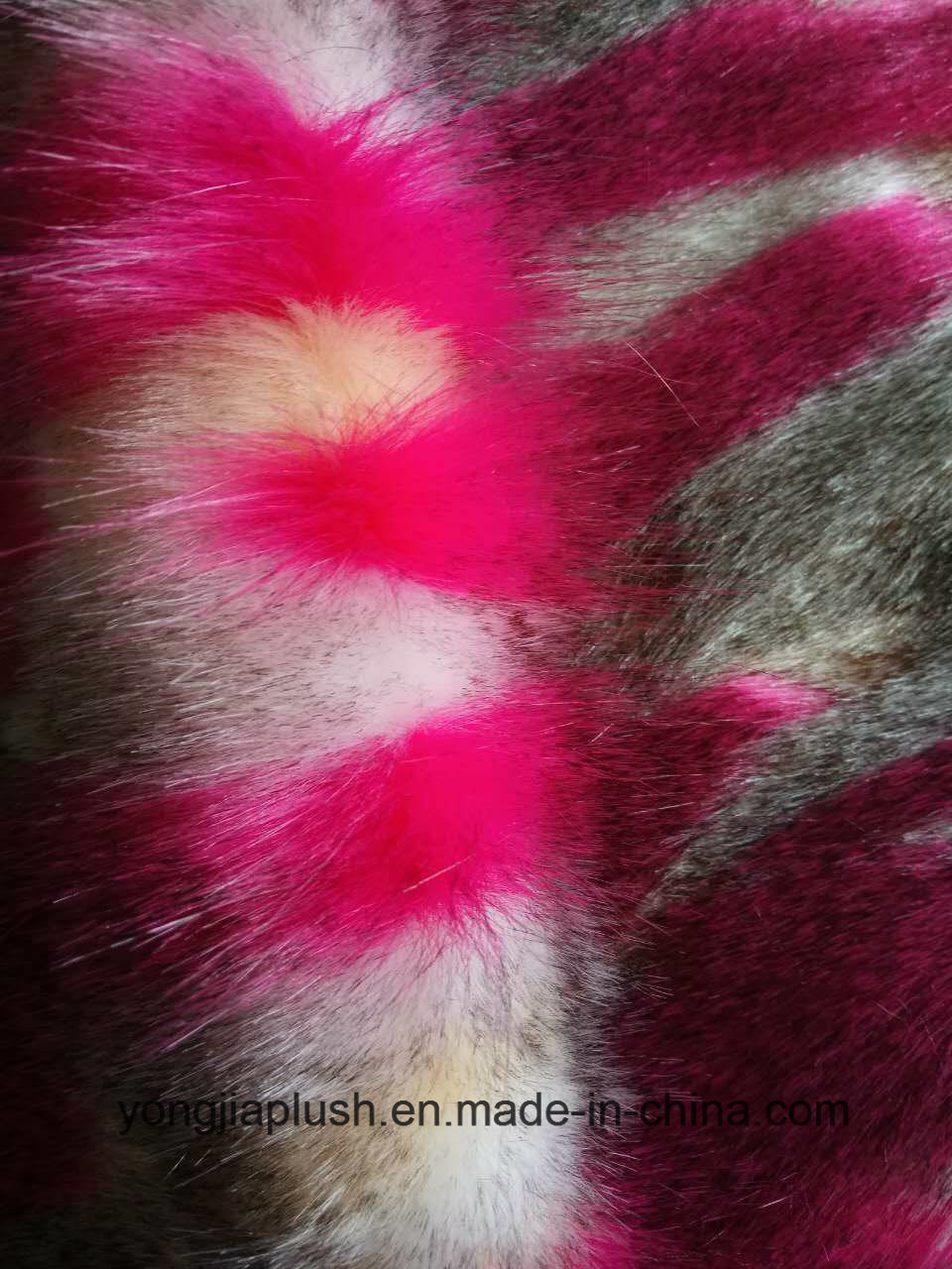 White Plain Rose Red Jacquard Faux Fur