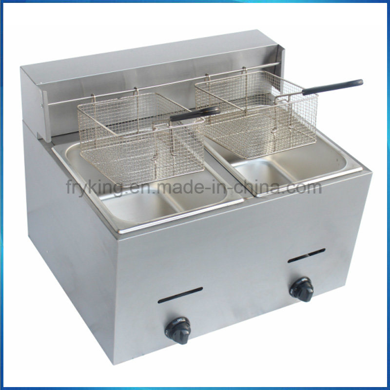 Double Tank Stainless Steel Gas Fryer for Kitchen