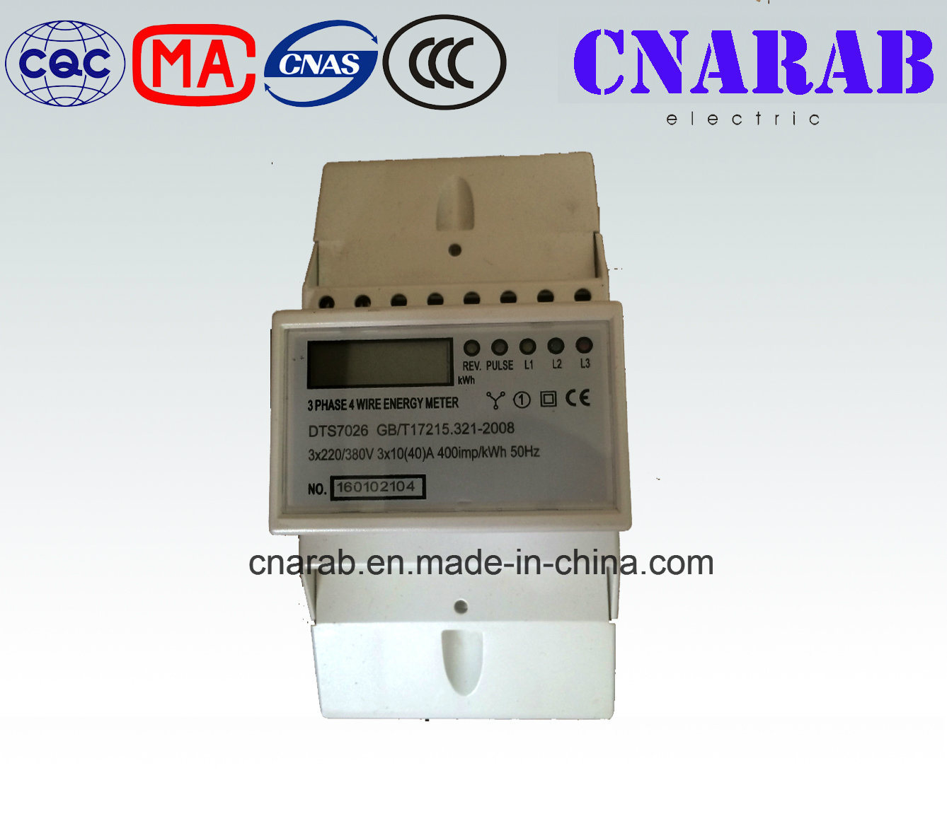 Three-Phase Four-Wire Electronic DIN-Rail Active Energy Meter (4P, LCD Display)