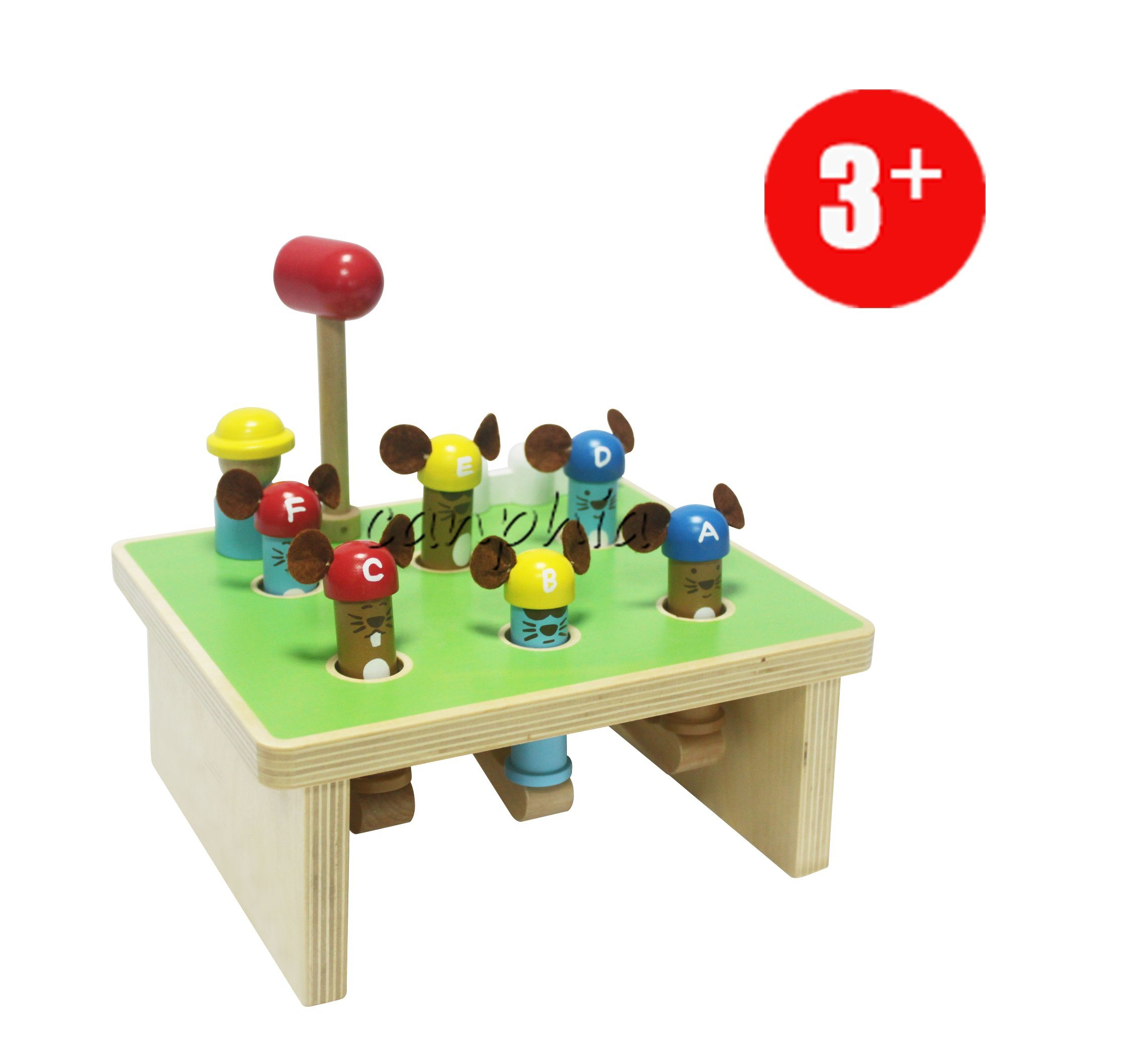 Wooden Educational Six Wooden Mouse and Wooden Hammer Play