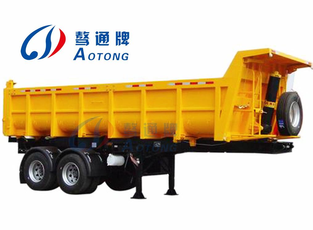 2 Axle Truck : China axles side dump semi tipper truck trailer