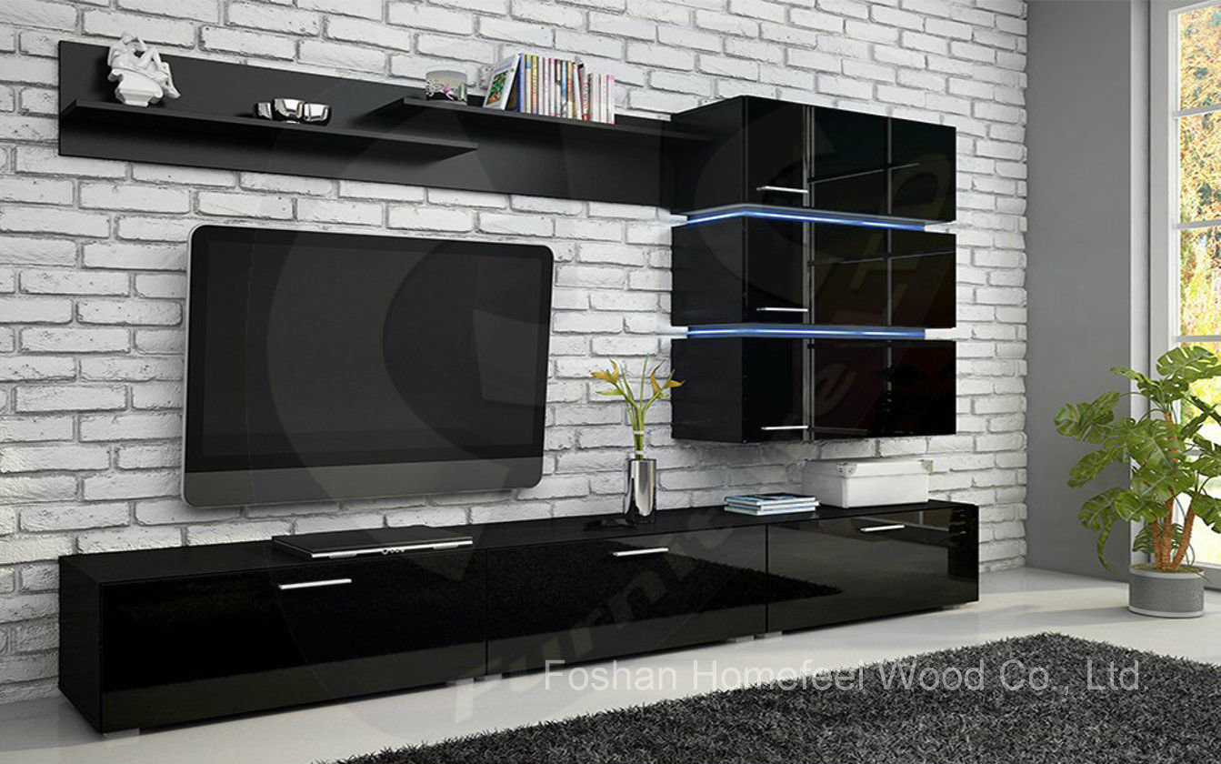 China wooden white glossy elegant design tv cabinet hf for Tv cabinet designs for hall