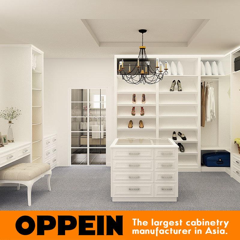 2016 European Classical Matte Lacquer Wooden Walk-in Closet Wardrobe (YG16-L05)