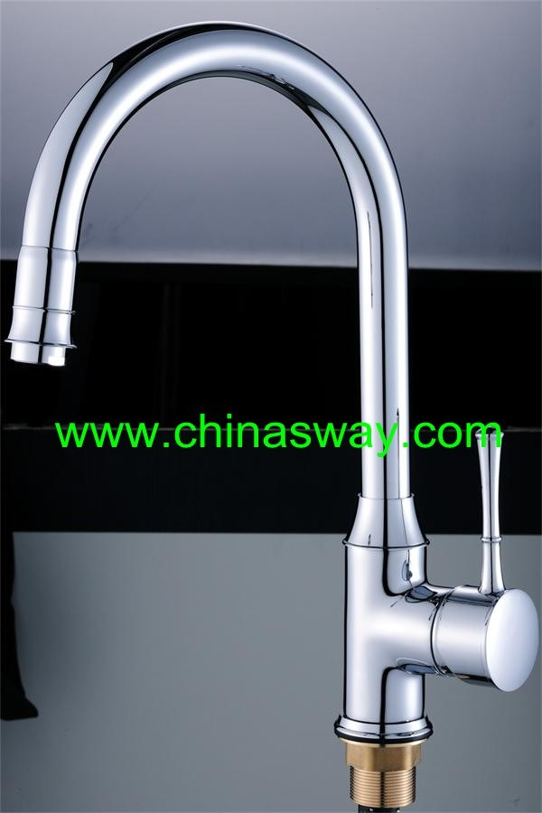 Kitchen Sink Faucet, Goose Pipe, Movable Spout, Chrome (SW-09584)