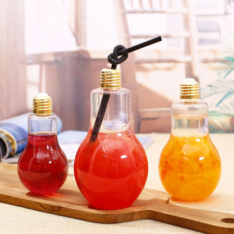 Lightbulb Shape Water Bottle/Glass Beverage Bottle /Glass Bottle with Metal Cover