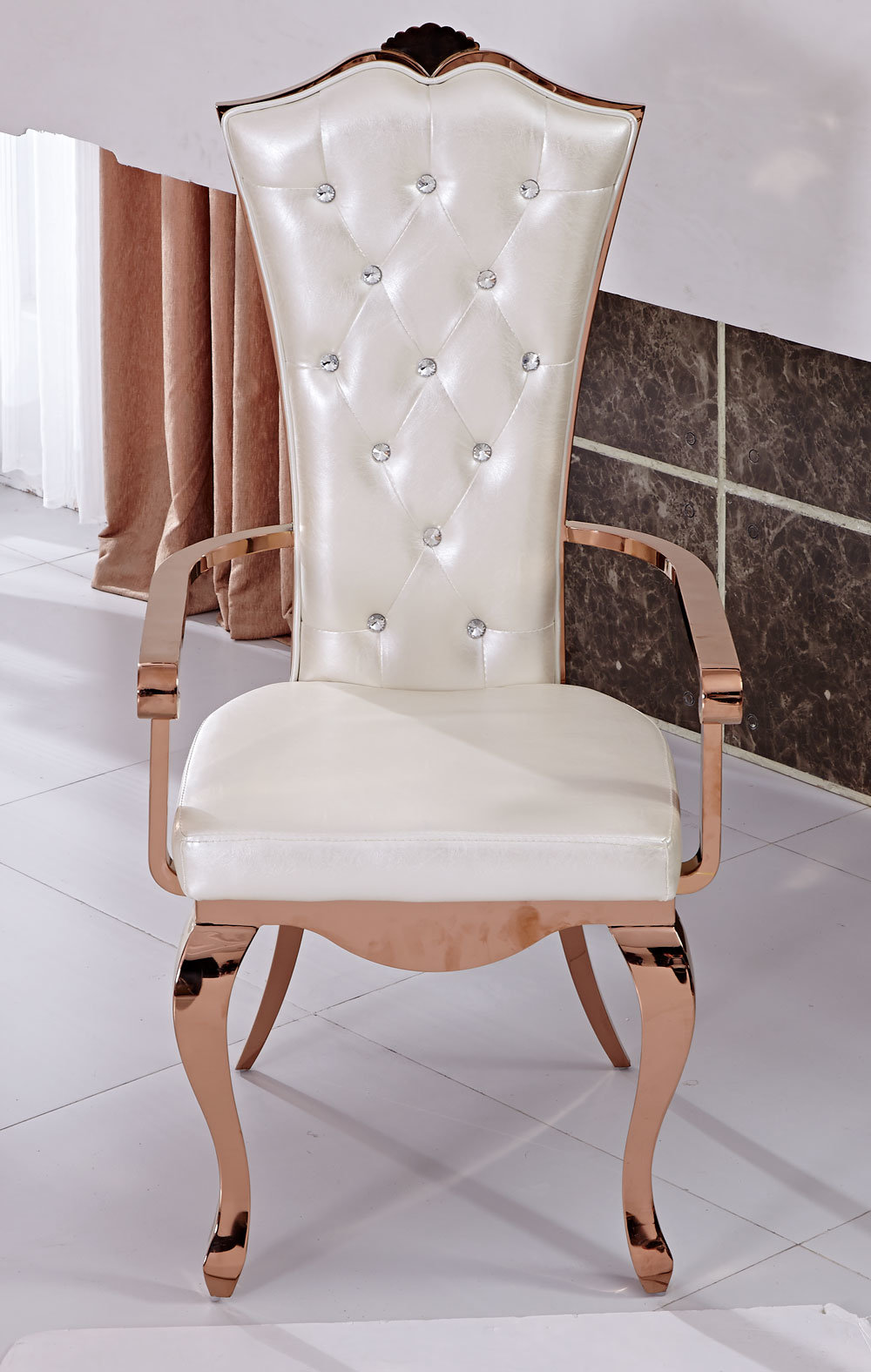 New Design Rose Golden Stainless Steel Dining Chair with Armrest