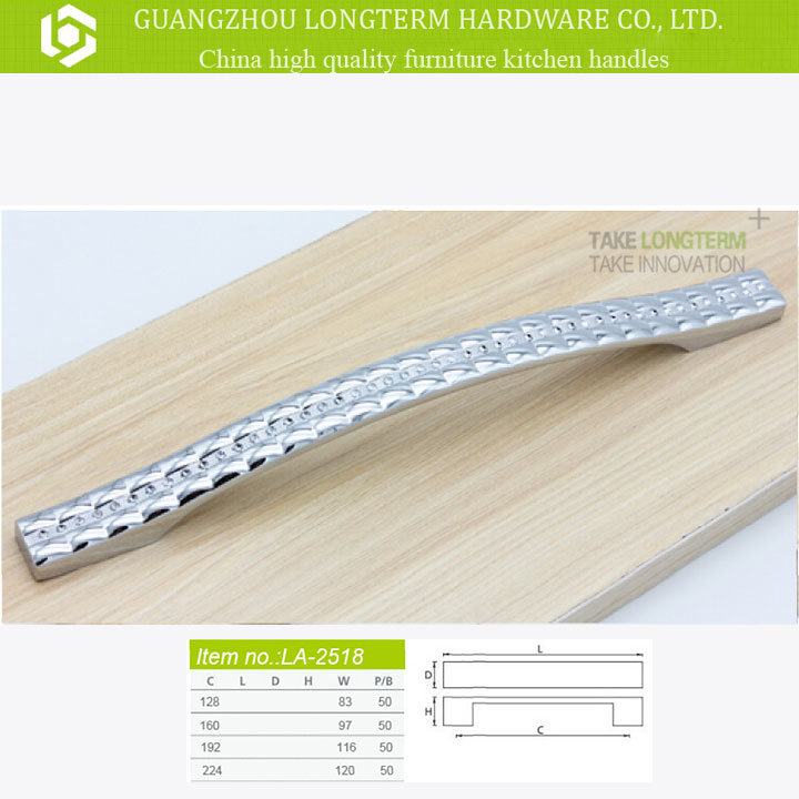 Clear Diamond Plaid Zinc Metarial Kitchen Handle Furniture Hardware