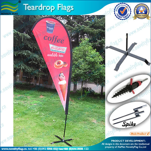 Economic Wind Resistant Beach Teardrop Flag with Pole and Base (L-NF04F06049)