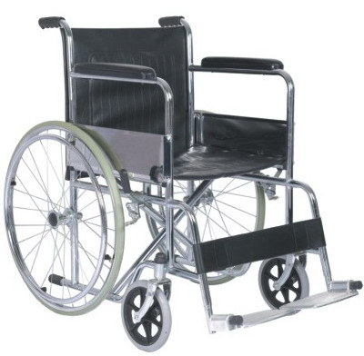 Economic Steel Folding Wheelchair with Chromed Frame