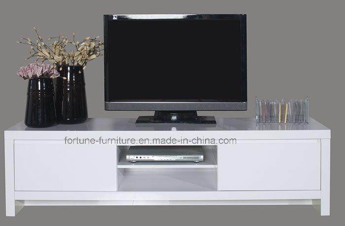 modern Wooden UV High Gloss White TV Stand with 2 Doors (Soho TV bench)