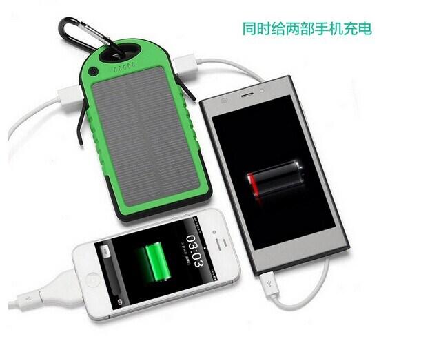 5000mAh Solar Power Bank Dual USB Port Battery Charger